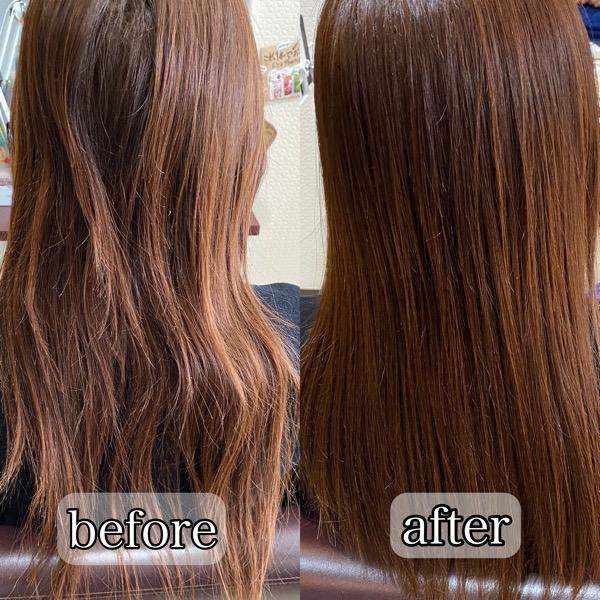 ブリーチ履歴のある髪を梳かれすぎてしまっている状態のお客様を髪質改善縮毛矯正で艶髪。【大阪・南大阪・堺・和泉・高石・泉大津】